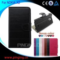 New Design Wholesale Pinjun Stand Wallet Leather Flip Cover Case for Nokia X2