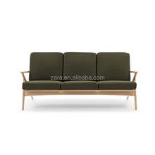 Moldura de madeira sólida 3 monolugares sofá / estofos com tecido de lã