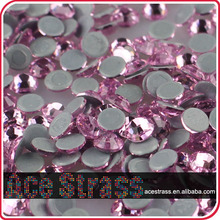 high shining quality light rose crystal flatback hotfix rhinestones for gymnastics rhythmic costume