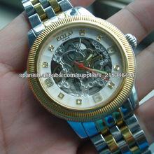 Top faahion10atm acero inoxidable de nuevo cliente logo esqueleto reloj mecánico