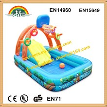 Funny inflatable pool with basketball hoop for kids