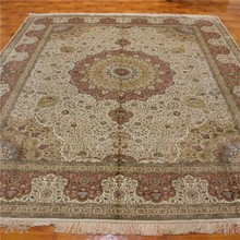 8x10ft persian rugs pure silk light red room carpet decor