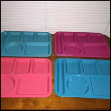 Multi Color PLASTIC CAFETERIA 6 COMPARTMENT TRAYS for restaurant hotel,custom plastic serving trays manufacturer