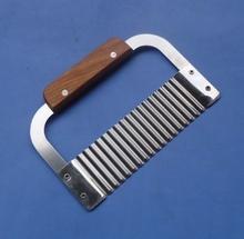 Mango de madera corrugado Ripple Wave cuchillo patatas fritas cuchillo pastelería
