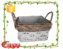 handicraft: 1 piece square split willow planter, basket