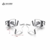 Wholesale Stainless Steel Simple Design Daily Wear Star Earrings