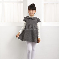Factory price girls winter woolen black polka dot dress for kids 2 to 14 years