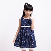 latest summer fancy star printing causul children girls' dress wholesale