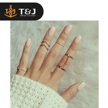 2015 new design hot sale Shiny Punk style Gold plated Stacking midi Finger Knuckle rings Charm Leaf Ring Set