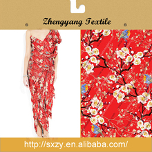 China style red floral printing polyester textile fabric manufacturer