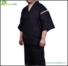 Men kimono style black cotton fibre sleep suit/japanese summer men pajama set /men thin homewear for SPA homee hotel GVXF0002