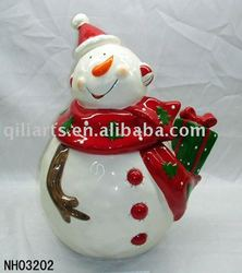 Christmas Snowman ceramic candy jars
