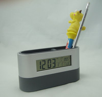 Desktop pen holder with LCD calendar clock