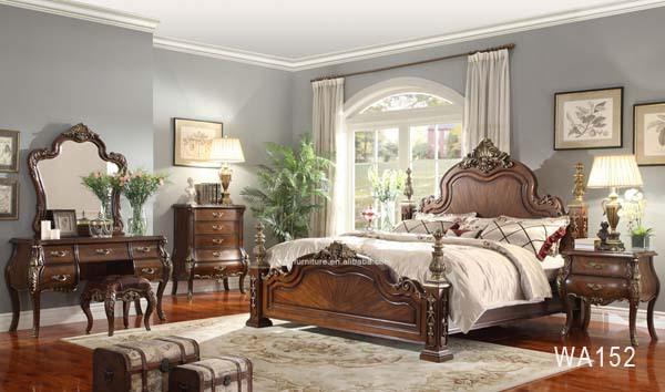 Solid Wood Malaysia Antique Luxury Bedroom Furniture WA152