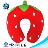 Children toy cheap car travel neck pillow cute strawberry u shape pillow
