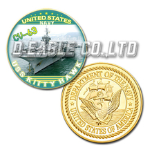 Wholesale Hot Selling USS Kitty Hawk CV-63 Color Printed Gold Souvenir/ Custom Challenge Coin/ Custom Coin