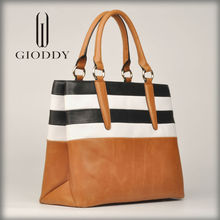 Black and White stripe on high quality leather tote bag