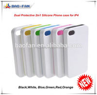 Year-end promotion!Blank sublimation double protect tpu +pc 3d custom print case for iphon4 case