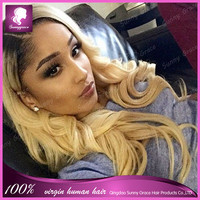 130% density brazilian virgin wavy human hair ombre #1b/18 lace front wig left side part two toned colored with dark roots