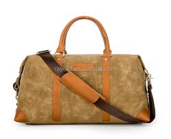 Vintage Leather And Waterproof Waxed Canvas Gym Holdall Weekender Travel Duffel Duffle Bag