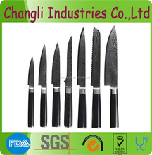 Japanese vg10 damascus steel knife set with black handle