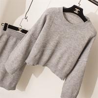 New type top sale light grey temperament long sleeve knit dress