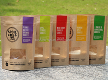 recycled brown kraft paper bags food packaging with window and zipper