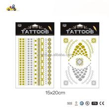 Metallic Tattoo Gold Fashion Accessory - 5 Sheets of Temporary Tats