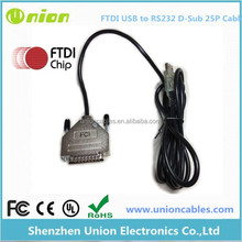 USB (A) Male to RS232 (DB9) Serial Cable with DB25 Adapter USB to RS232 (9-pin) Cable w/25-pin adapter