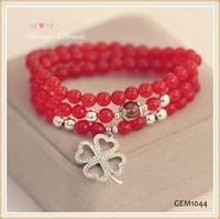 Natural red crystal, Thai silver pendants Clover, South Korea style charm bracelet fashion bracelet GEM 1044