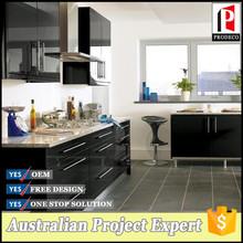 Negro moderno alto brillo gabinete de cocina con prefab homes indio altares