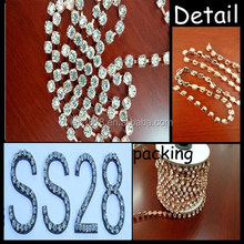 ss28 copper plating Round Cup Chainroll rhinestone chain