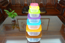 Hot selling 7 pcs set square plastic food storage container / food storage box
