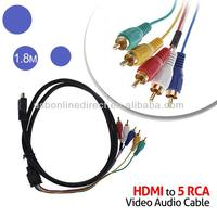 1.5m 1.8m 3m 5m HDMI to 5 RCA (male) RGB AV Converter Adapter Component Cable