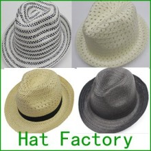 Wholesale Cheap Straw Hat Factory Custom paper fedora Hat