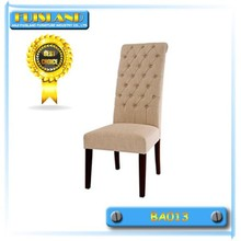 Creamy white fabric wooden dining chair