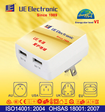 Energy Star Level VI Smart Android mobile phone 2 USB port wide input global used electric charger