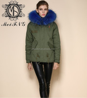 Wholesale army jacket short jacket faux fur with raccoon fur hooded trim blue lining from china short jacket fur manufacturer