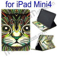 2015 Newest TPU+ PU Leather Case for iPad Mini 4, Cat Pattern Side Flip Leather Case for iPad Mini 4