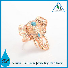 New fashion turquoise elephant men's ring