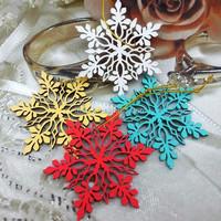 Free Shipment 2016Teda Painted christmas wood snowflakes decorations