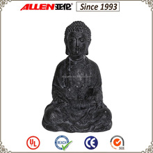 "14.2"" black resin cracked texture sitting buddha statue for sale"
