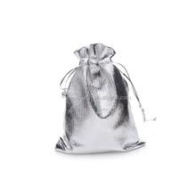 9*12cm In Stock silver golden metallic organza pouch for wedding favor
