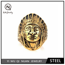 Retro American Indians Stainless Steel Rings Gold