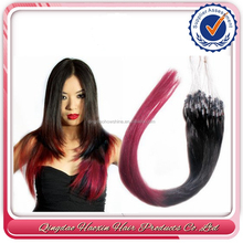 Whole sale cheap Remy ombre hair two tone micro loop/ ring hair extension