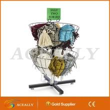 Two Tier Wire Basket Spinner Rack For Impulse Merchandise