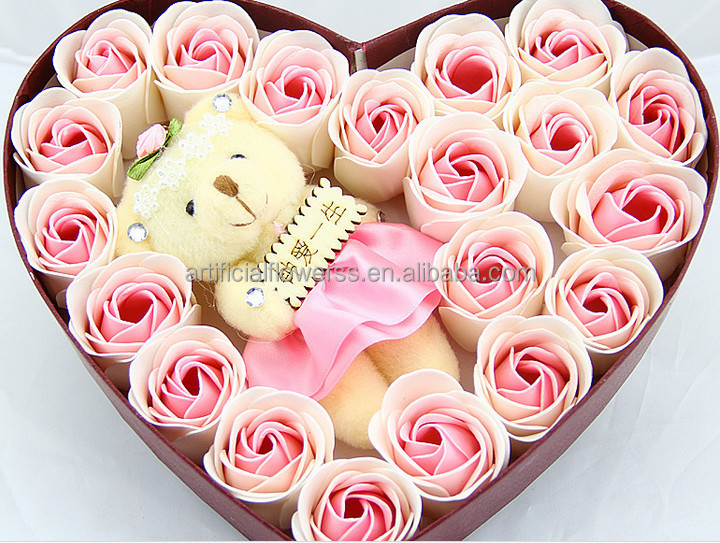 Pas cher en forme de coeur rose fleur de savon cadeau pour - Decoration saint valentin pas cher ...