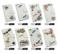 2015 Hot New Products For 3d bling crystal wallet Leather Case For LG G2