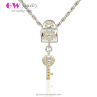 Alibaba Onlie Shopping Lucky Lock And Key 925 Sterling Silver 18K Gold Plated Charms