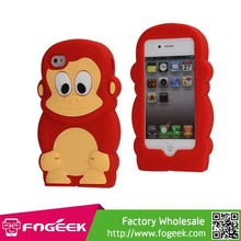 Soft Silicone Jelly Case With Smart 3D Monkey Shaped for iPhone 4/4S